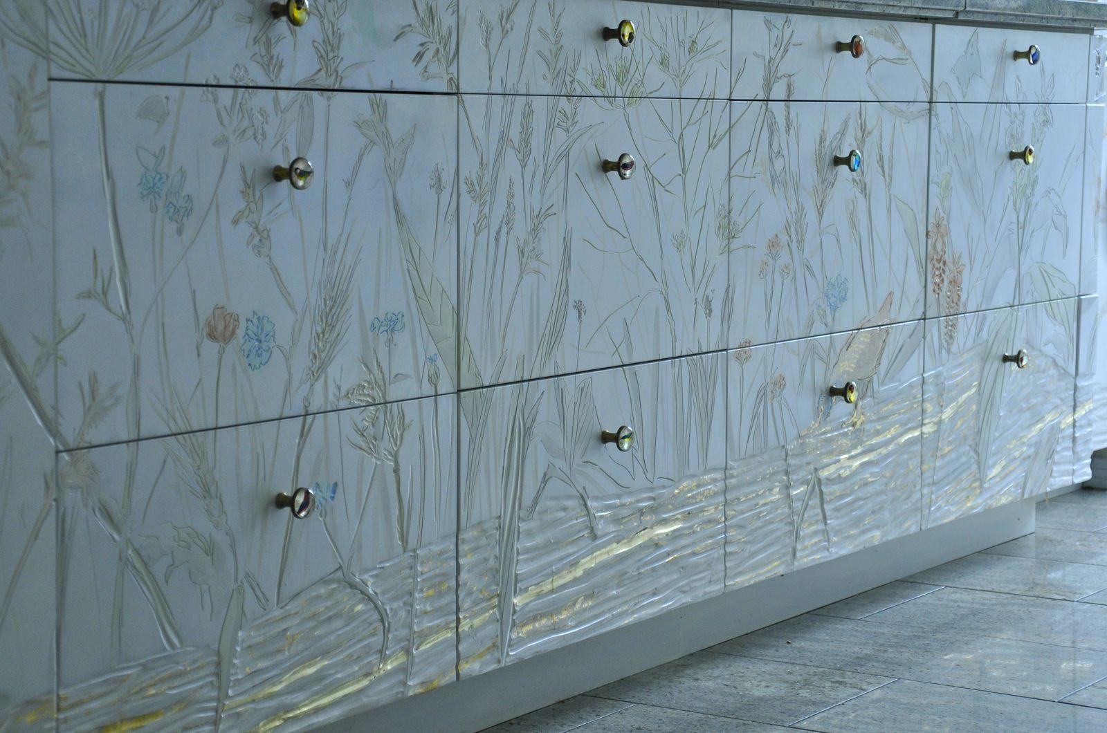 Ritztechnik - Malerei - dekorative Schubladenfronten