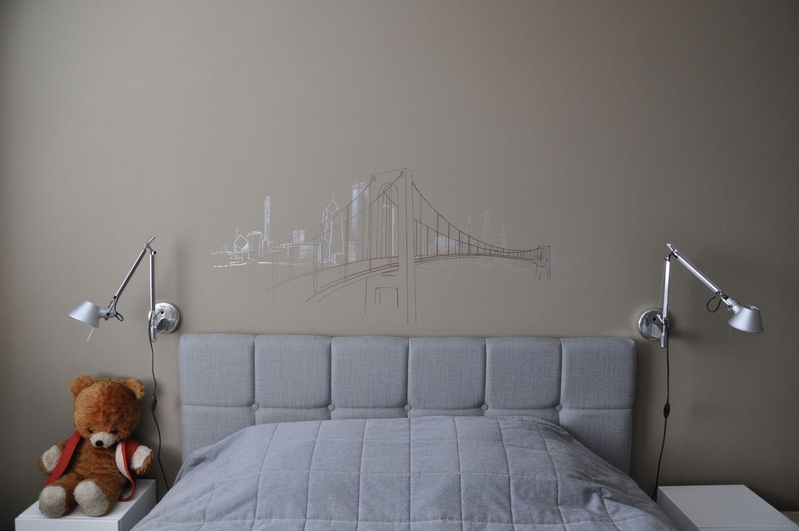 Skyline - Filzstiftzeichnung - Wandzeichnung