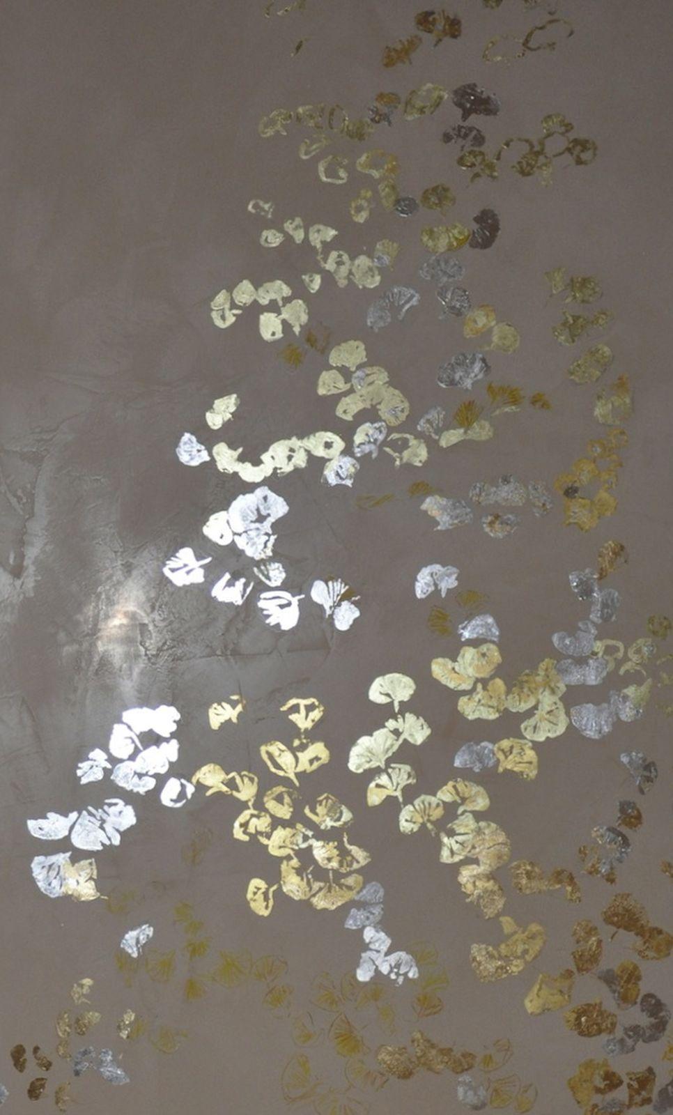Ginkgo - Gold - Silber - Blattmuster