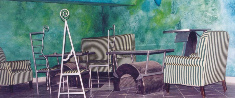 Abstrakte - Wandmalerei - Blaugruen