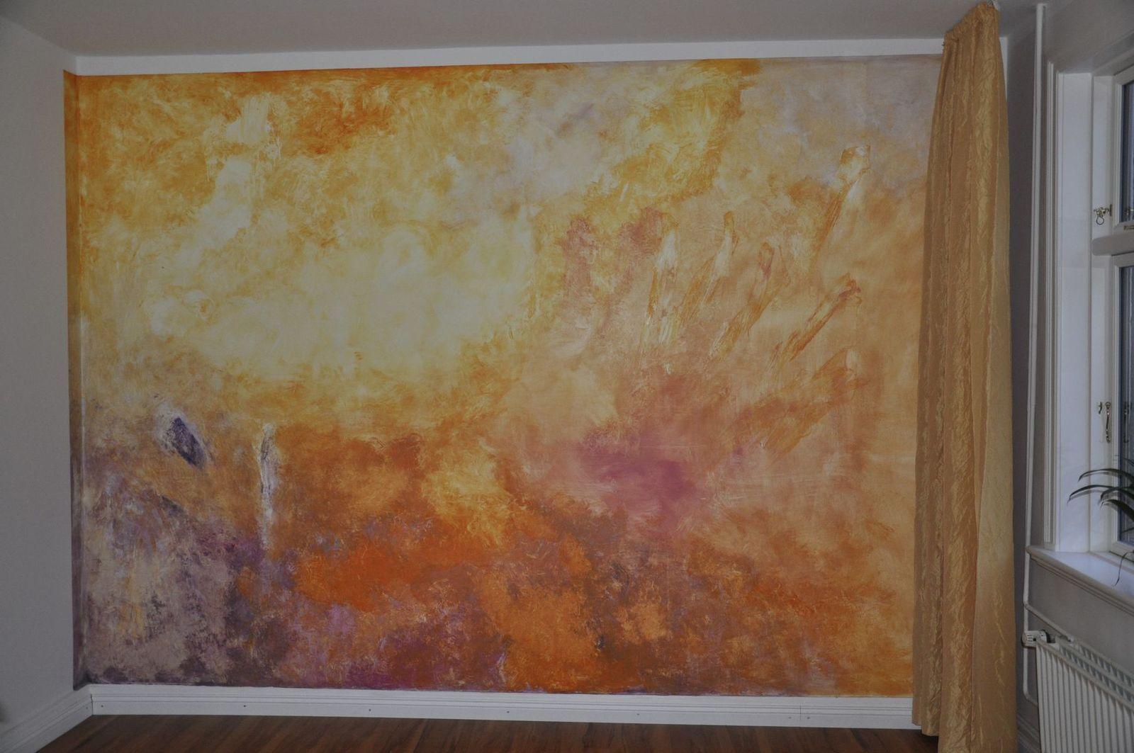 Abstrakte Wandmalerei - Wischtechnik