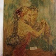 Wandschmueck - Tanzpaarrelief - Wischtechnik