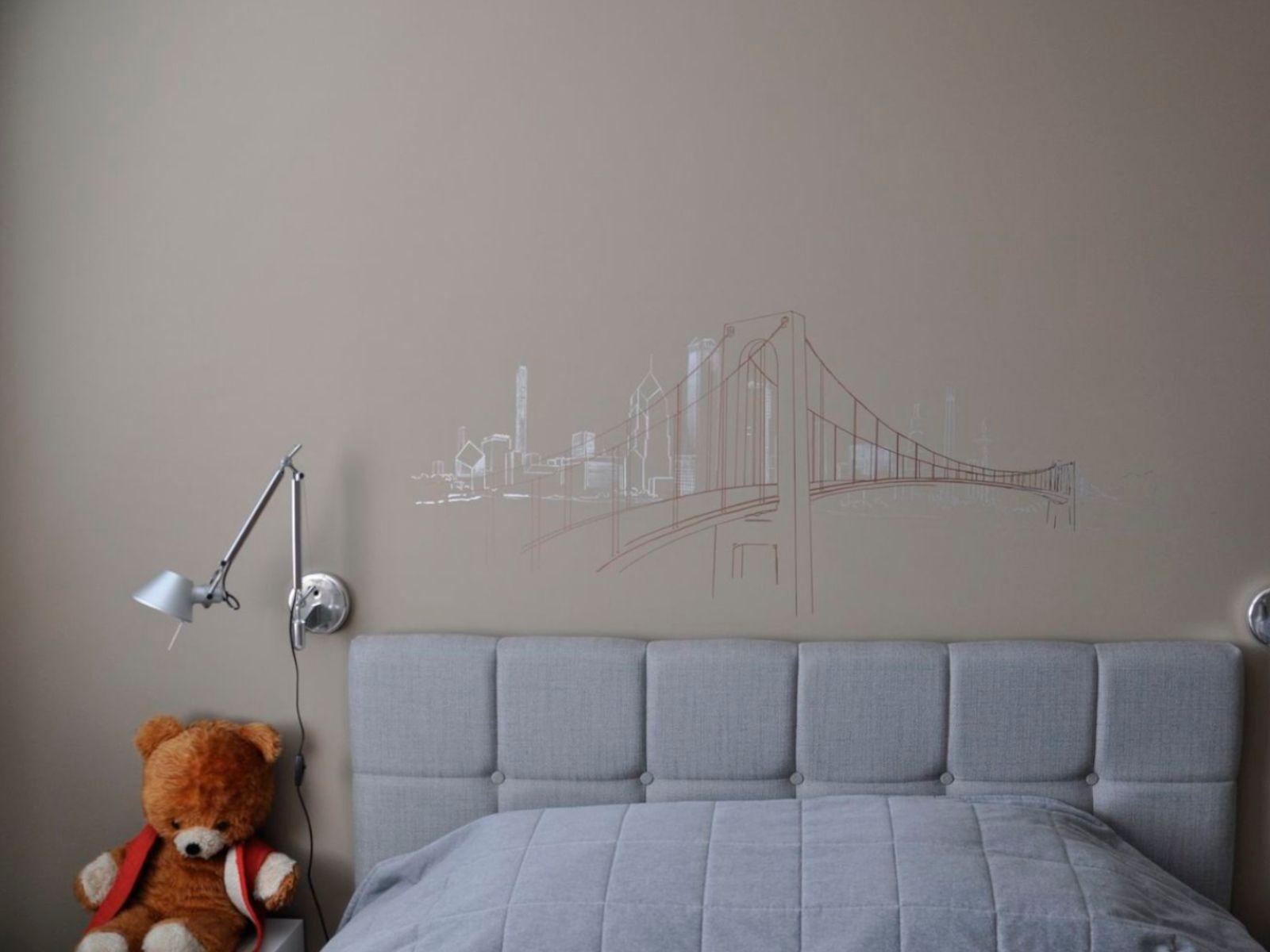 Wandzeichnung - Bruecke - Stadtsilhouette